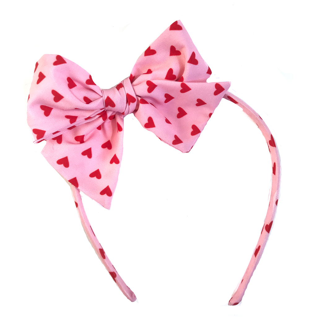Collette Headband- Red Hearts on Pink