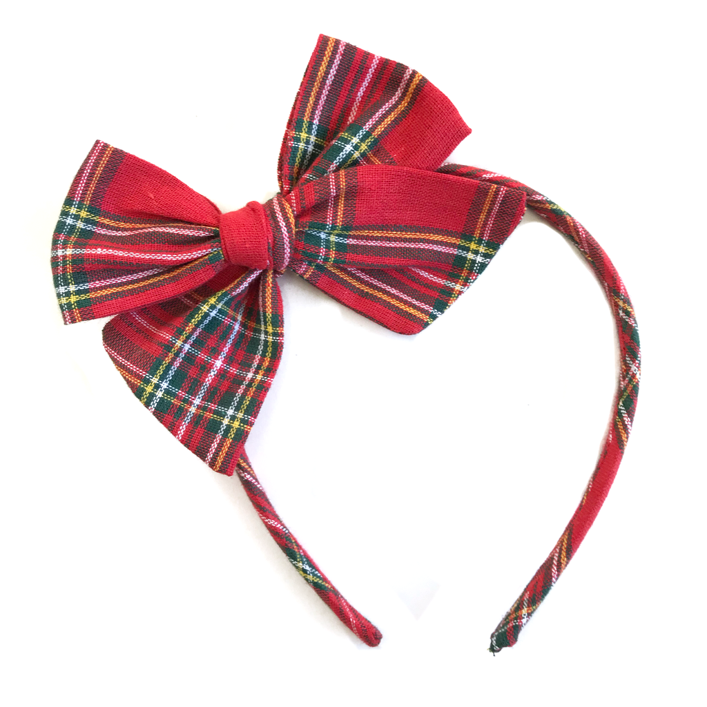 Collette Headband- Red Holiday Tartan