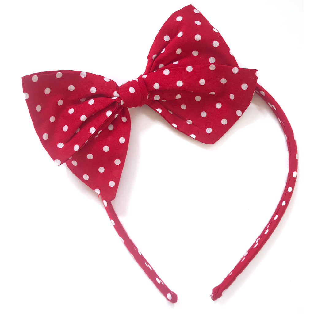 Collette Headband- Red with White Stars