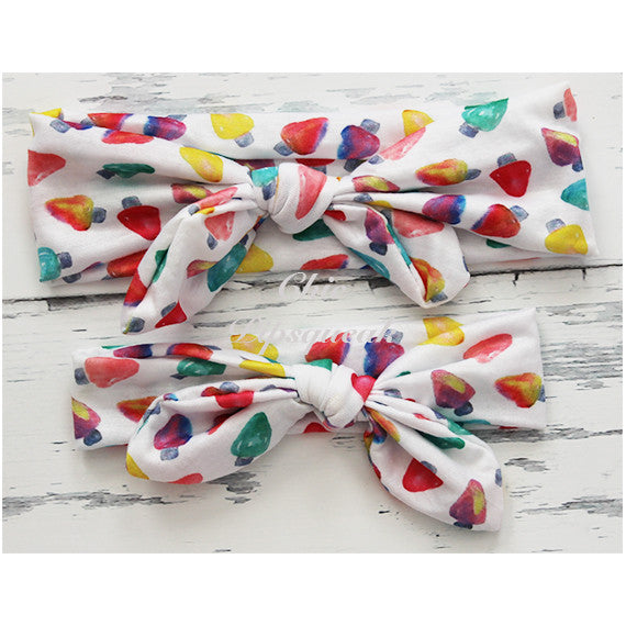 Holiday Top Knot Headbands, Colorful Lights
