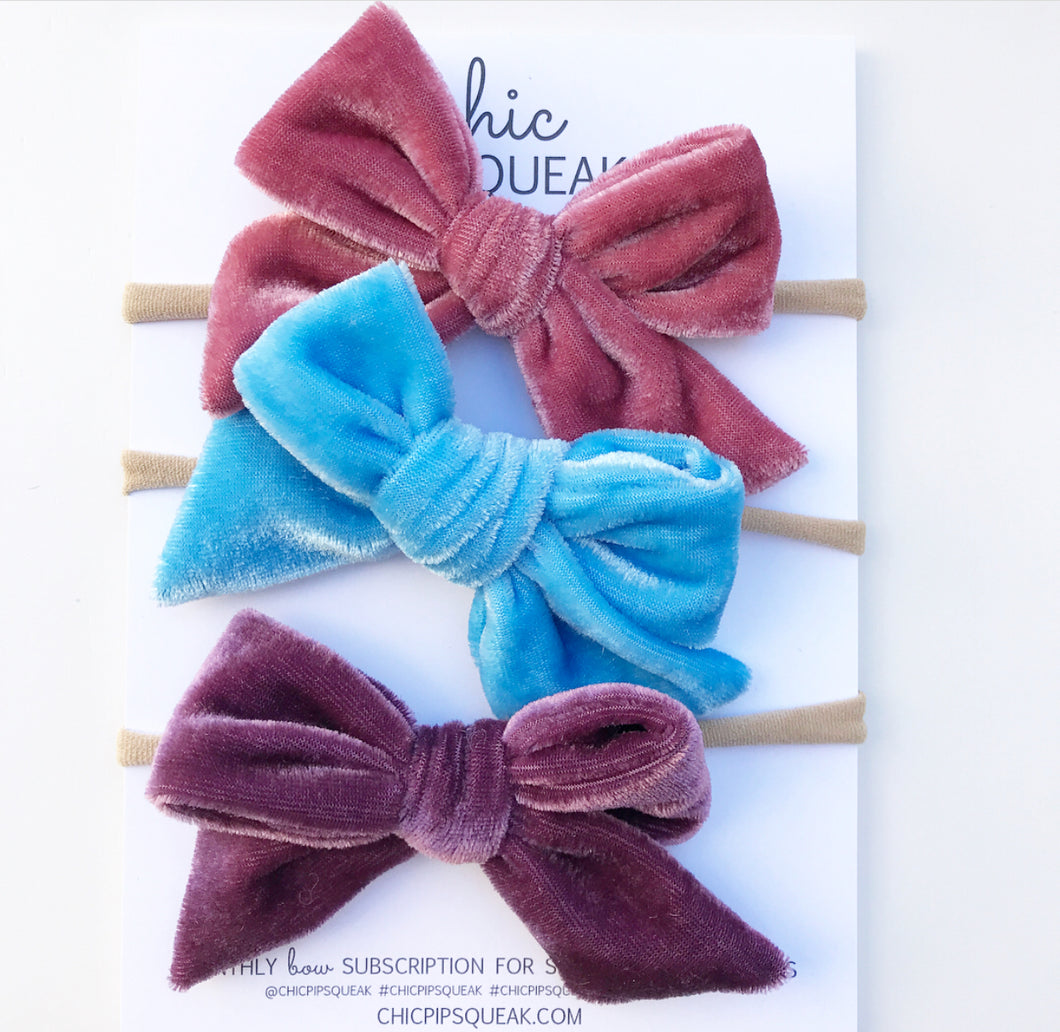 Crushed Velvet Bow Bundle- Dusty Pink, Sky Blue and Dusty Purple