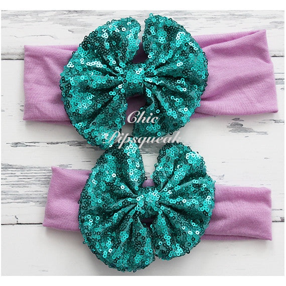 Floppy Sequin Bow Headband, Dark Aqua on Lavender