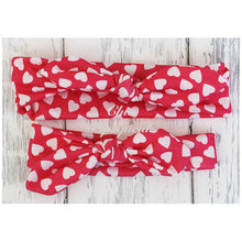 Top Knot Headband, Red with White Hearts