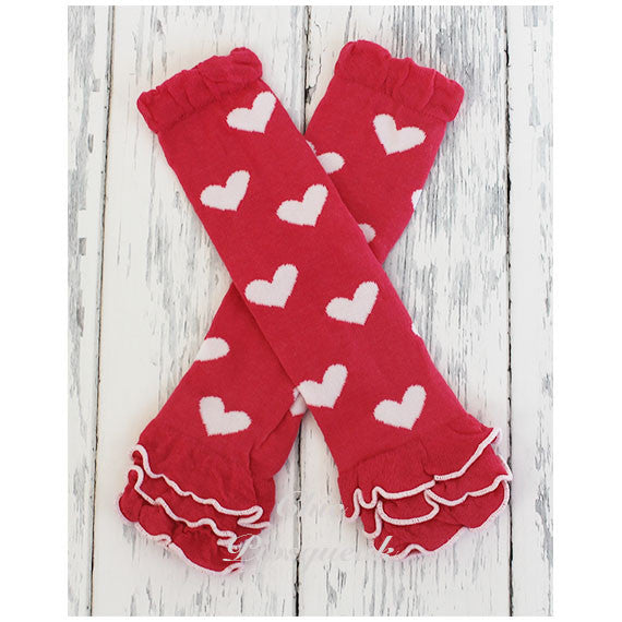 Baby and Kids Leg Warmers, Dark Pink and White Hearts