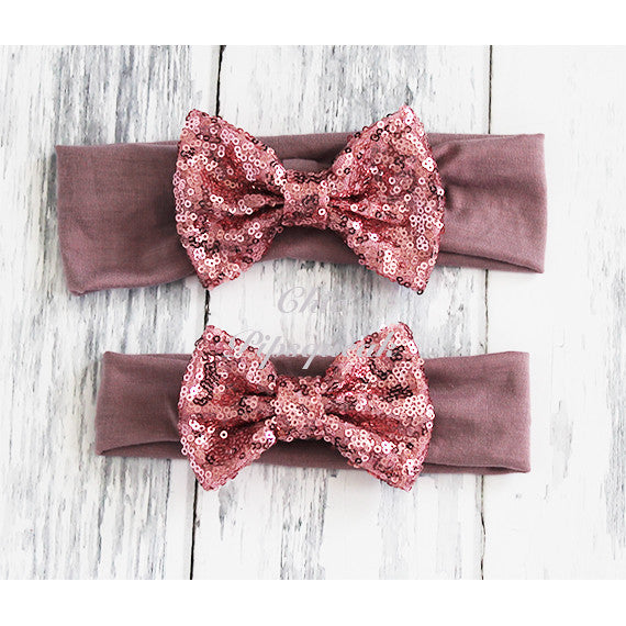 Sequin Bow Headband Solid Color, Dusty Mauve