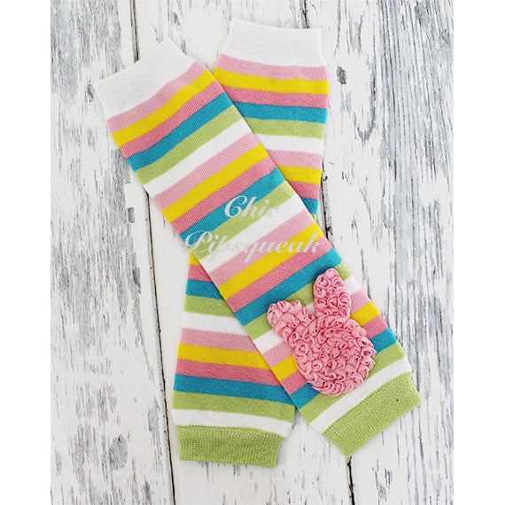 Baby and Kids Leg Warmers, Pastel Thin Stripes