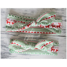 Holiday Top Knot Headbands, Red and Green Lights