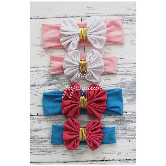 Floppy Bow Headband, Gold Middle