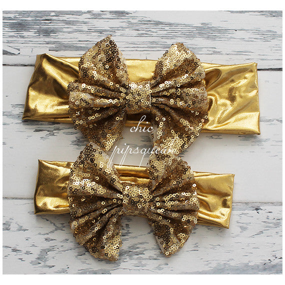 Floppy Sequin Bow Headband, Old Gold on Gold