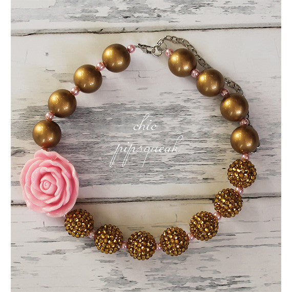 Chunky Bubblegum Baby and Kids Necklace, Gold with Pink Flower