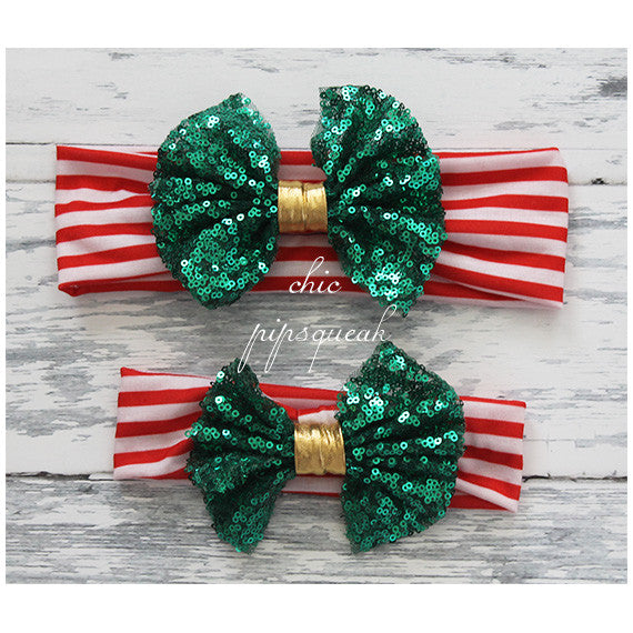 Floppy Sequin Bow, Green Bow on Red/White with Gold
