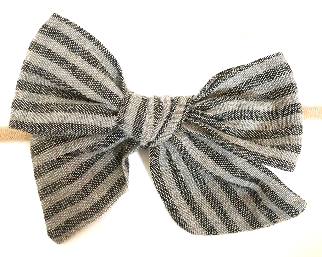 Hand Tied Bow - Black and Gray Stripe