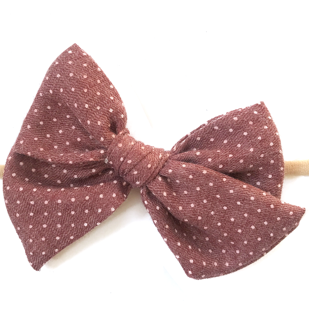 Hand Tied Bow - Brick Red Dot