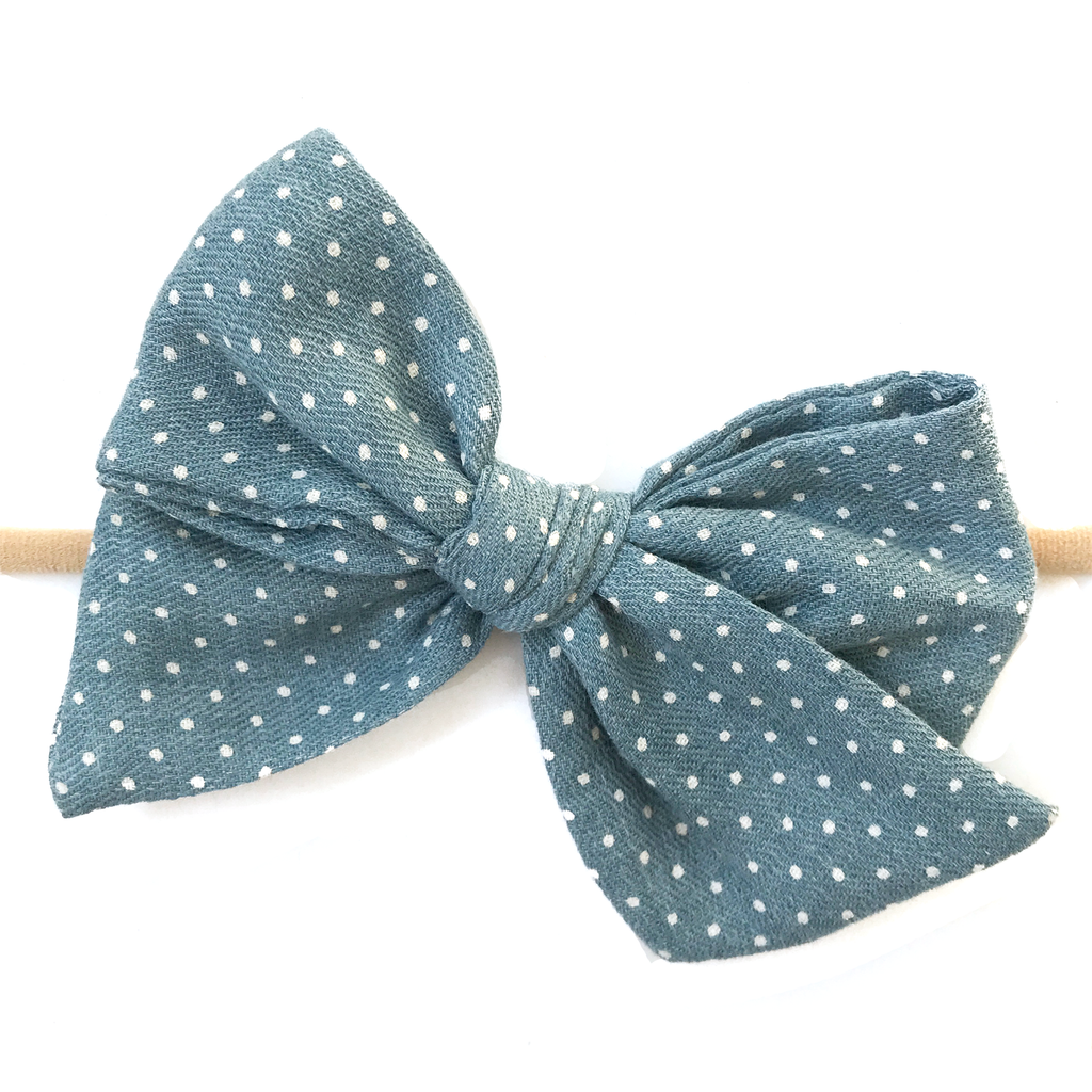 Hand Tied Bow - Fall Blue Dot