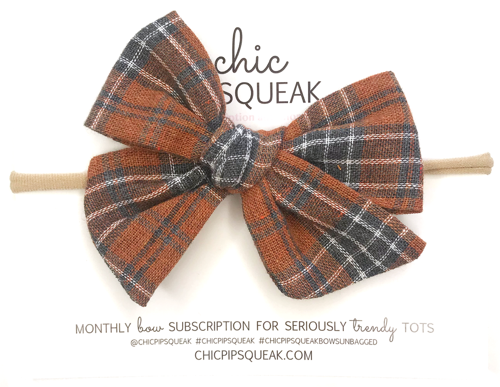 Hand-Tied Bow- Fall Plaid