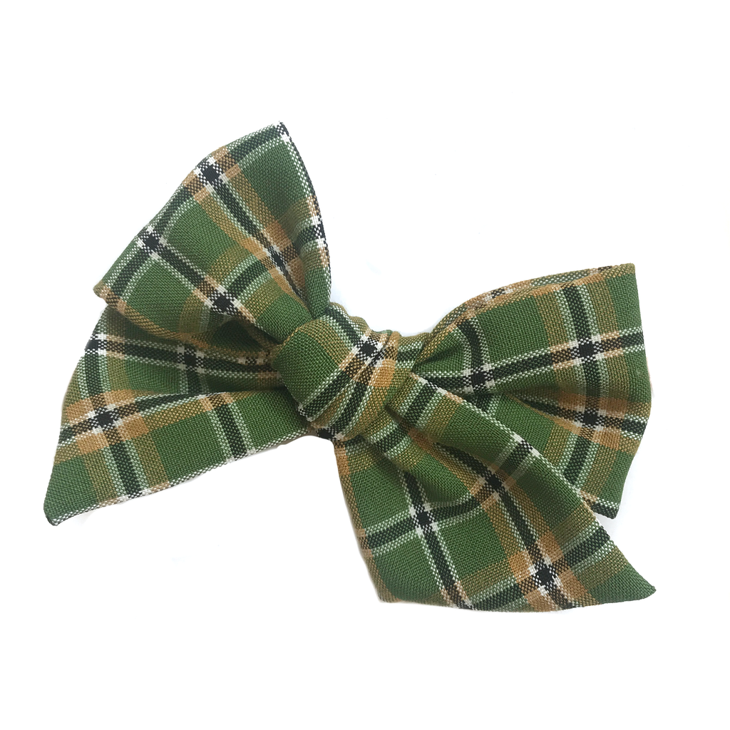 Hand-Tied Bow - Green and Gold Plaid