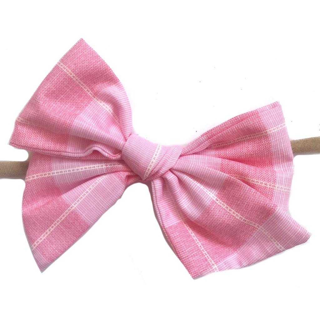 Hand-Tied Bow - Large Pink Check