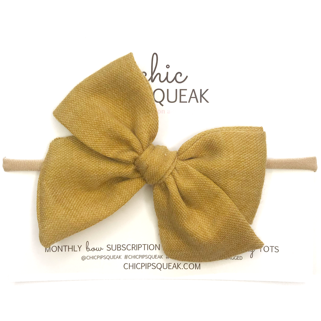 Hand-Tied Bow- Mustard Soft Flannel
