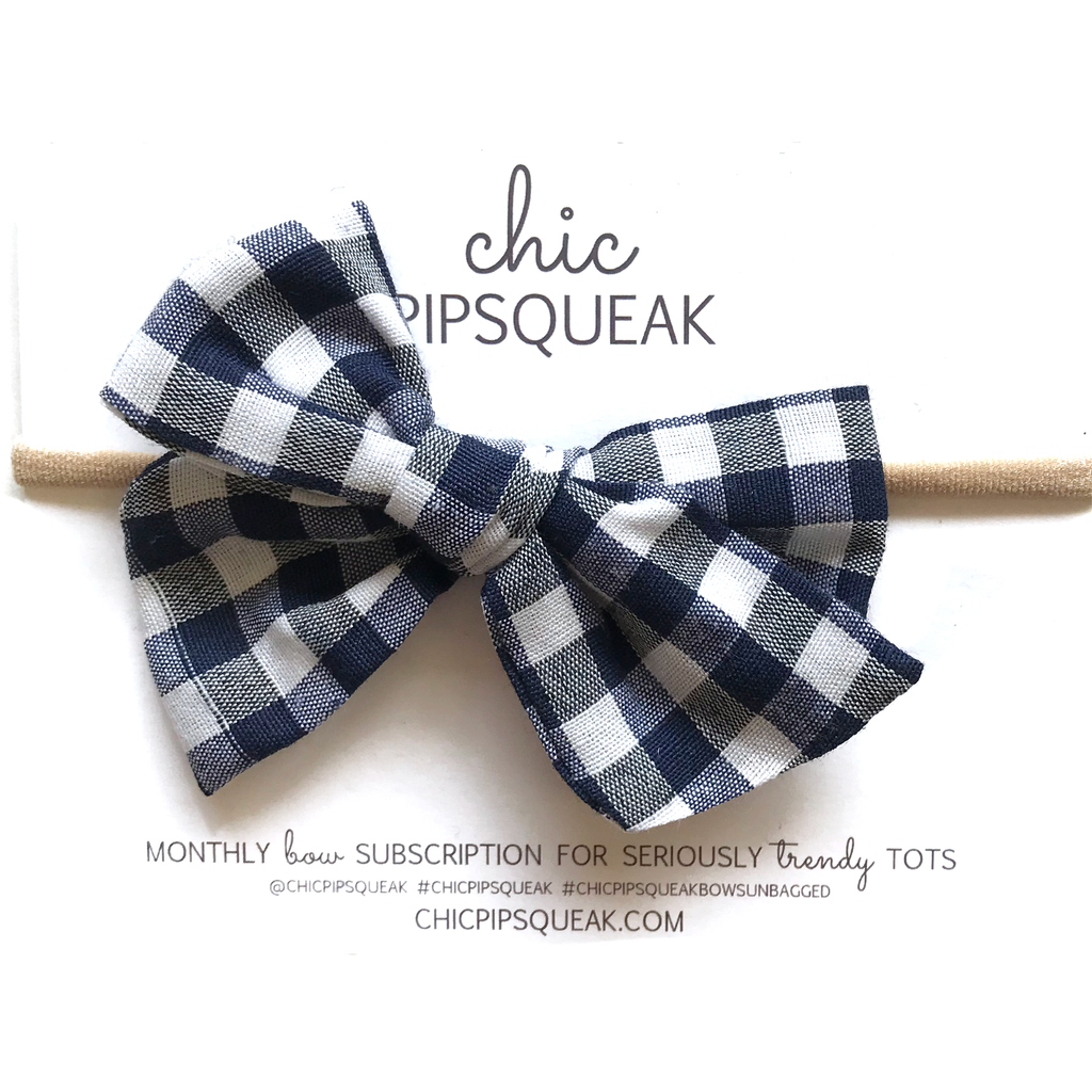 Hand-Tied Bow - Navy and White Buffalo