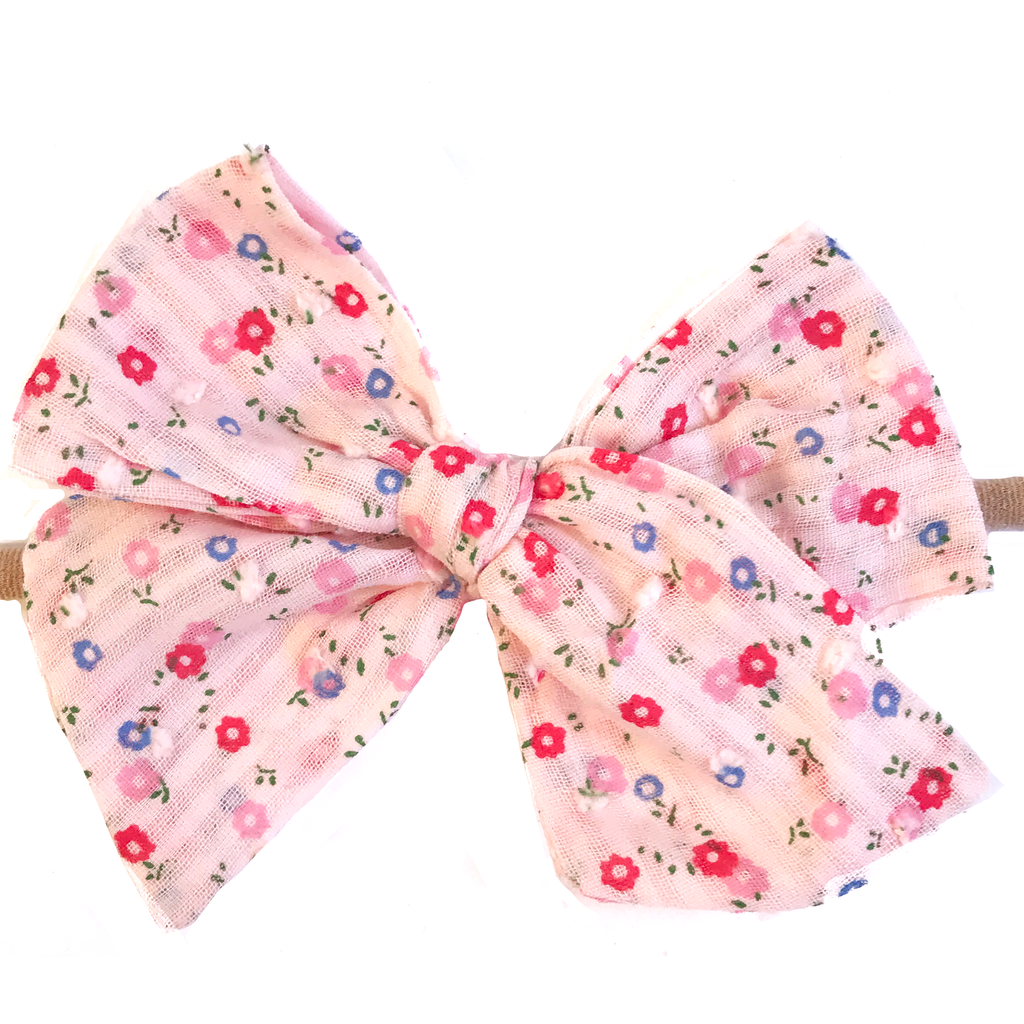 Hand Tied Bow - Pale Pink Swiss Dot Floral
