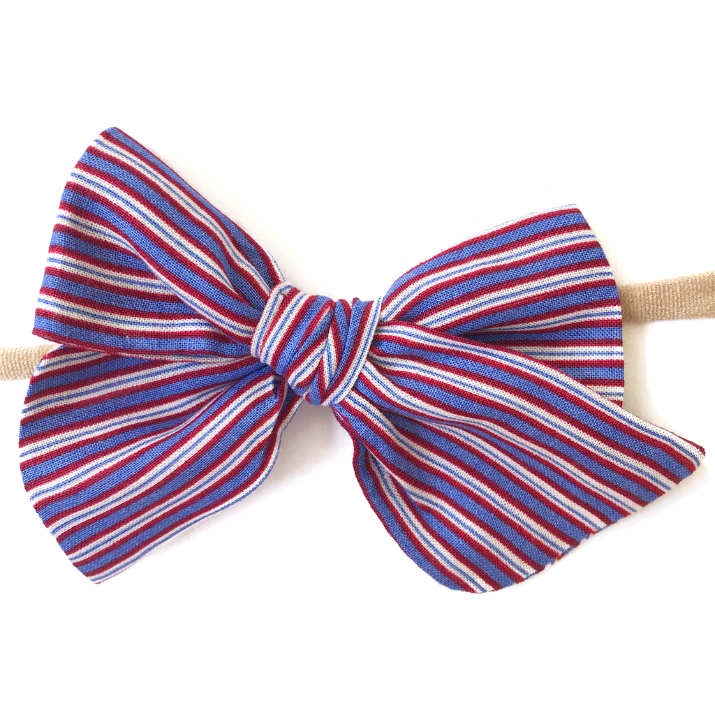 Hand-Tied Bow -Patriotic Stripe