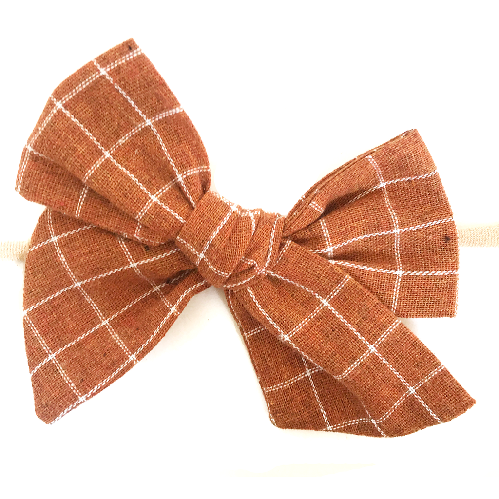 Hand Tied Bow - Pumpkin Spice Check