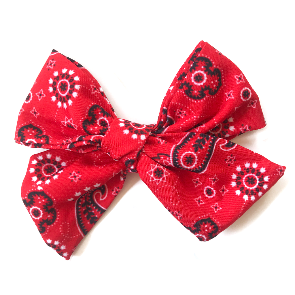 Hand-Tied Bow - Red Bandana