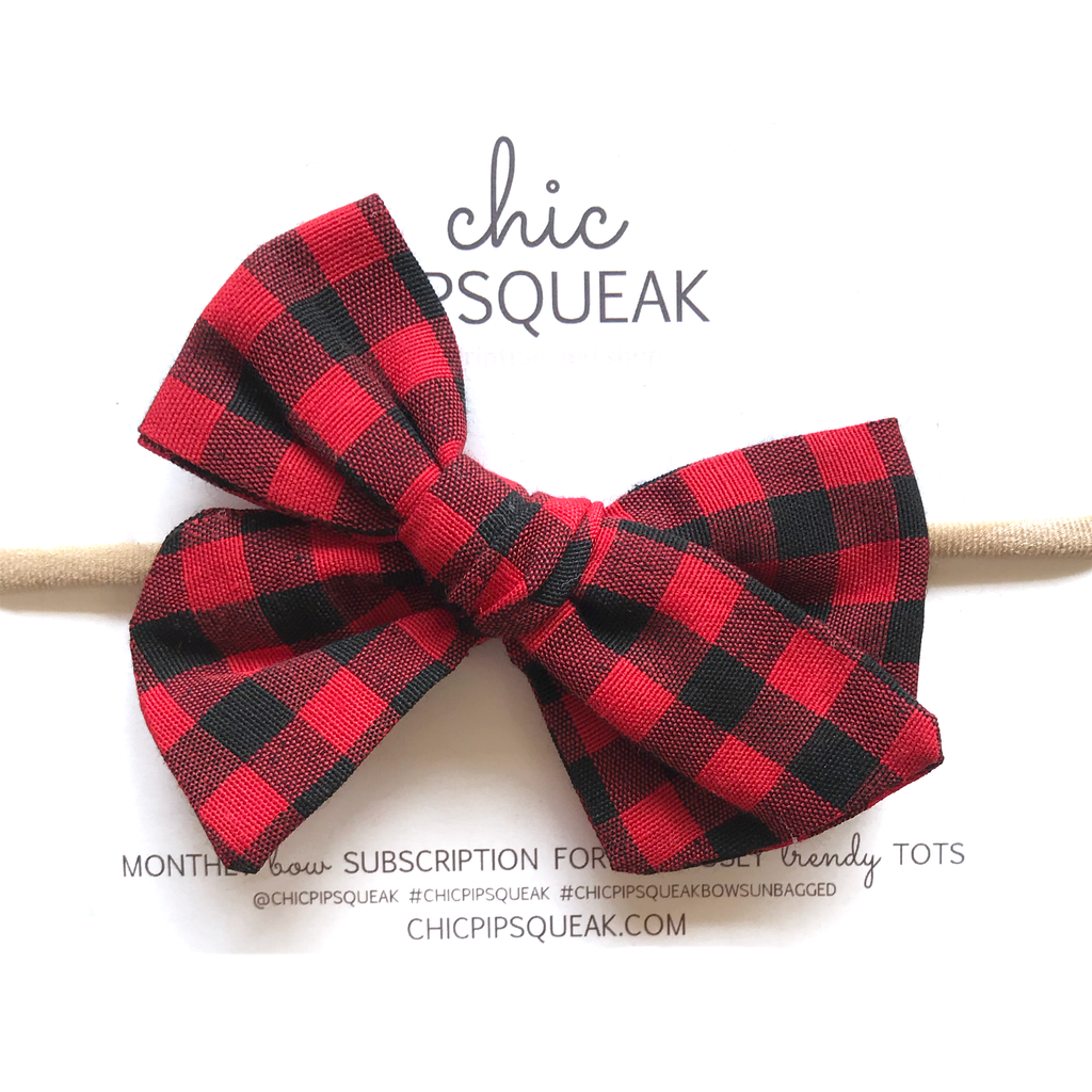 Hand-Tied Bow - Red and Black Buffalo