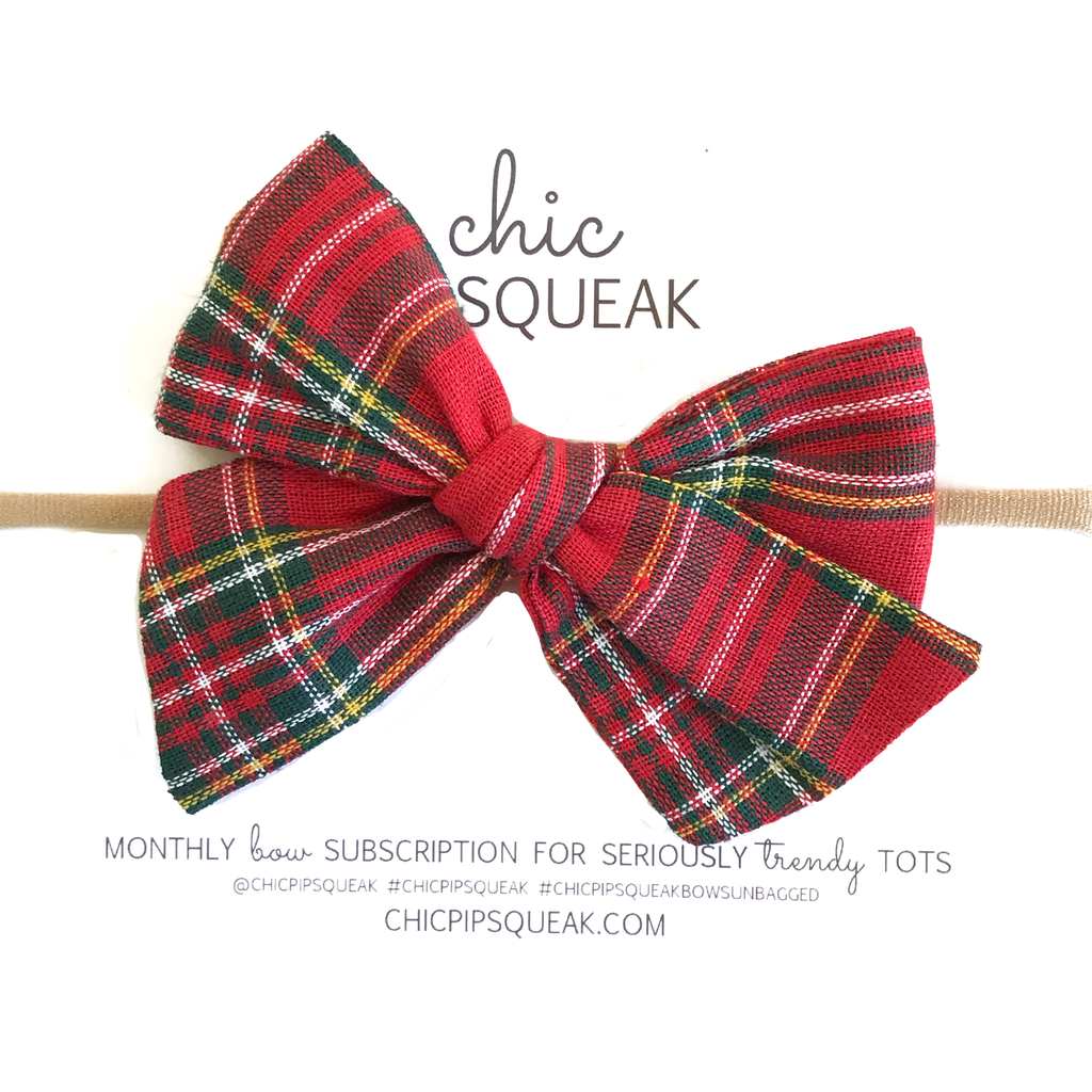 Hand-Tied Bow - Red Holiday Tartan
