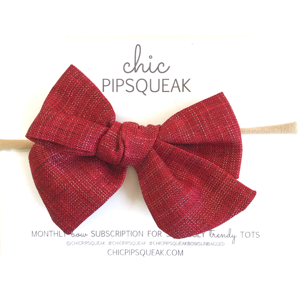 Hand-Tied Bow - Red Shimmer