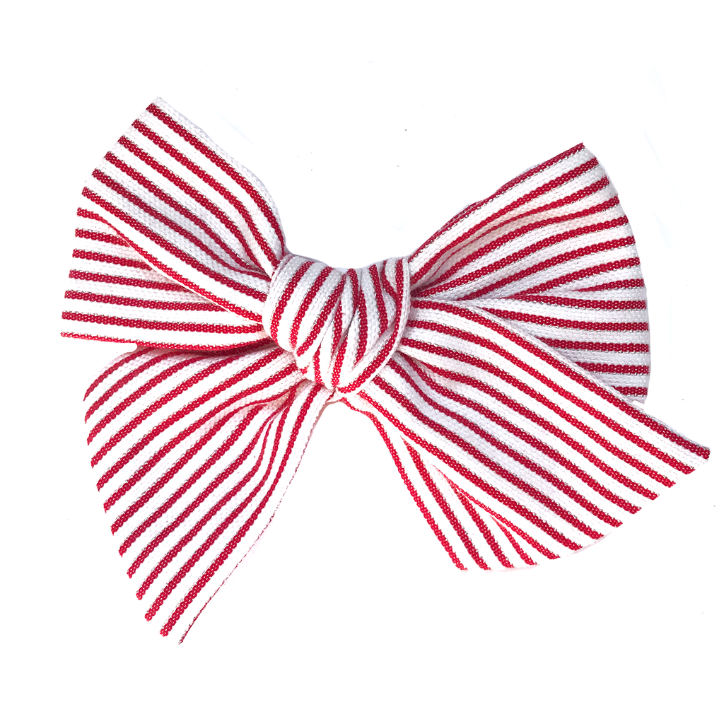 Hand-Tied Bow -Red, Silver and White Stripe