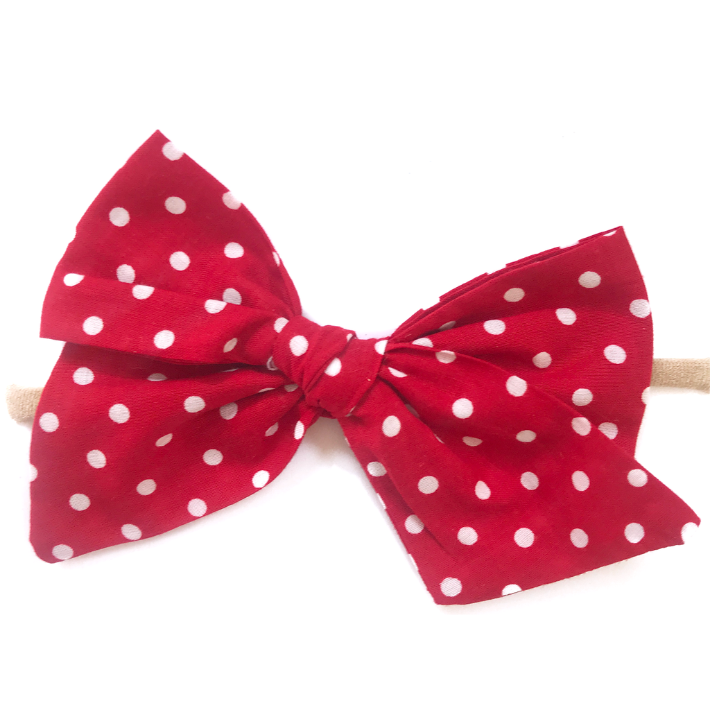 Hand-Tied Bow - Red with White Dots