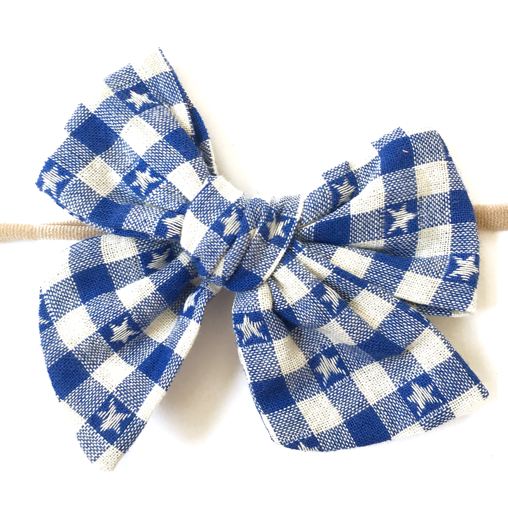 Hand-Tied Bow - Royal Blue StarnGingham