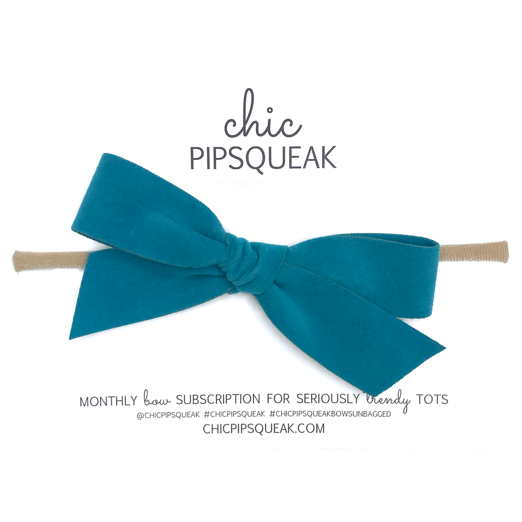 Hand-Tied Bow - Teal Suede