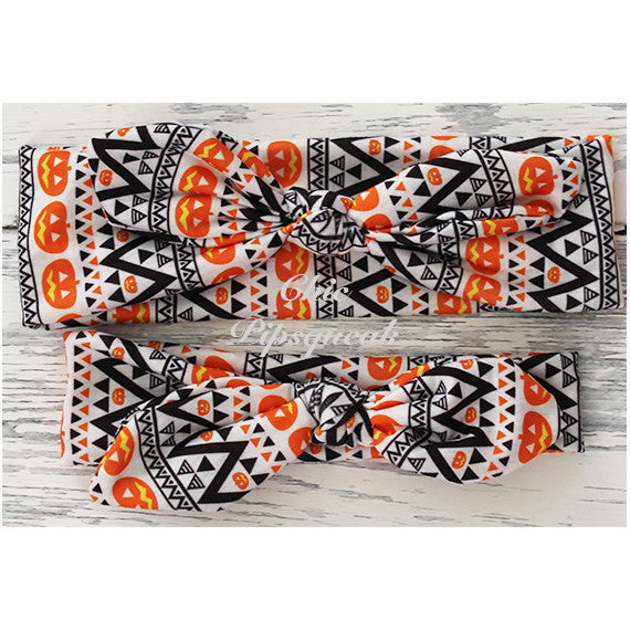 Top Knot Headband, Aztec Pumpkin
