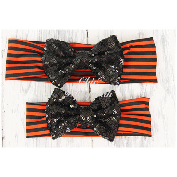 Sequin Bow Headband, Black Sequin Bow on Black and Orange Stripes
