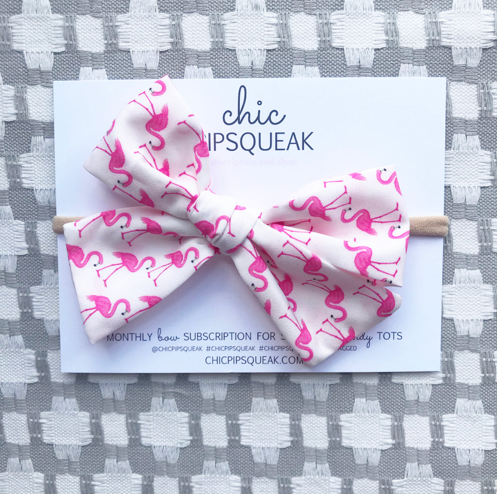 Hand-Tied Bow- Flamingo
