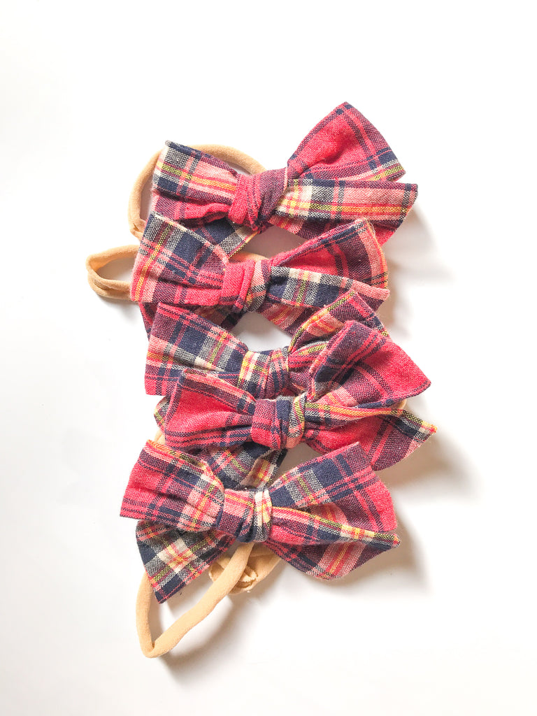 Hand-Tied Bow- Red or Green Cotton Plaids