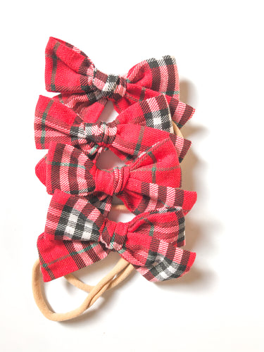 Hand-Tied Bow- Red Flannel Plaid