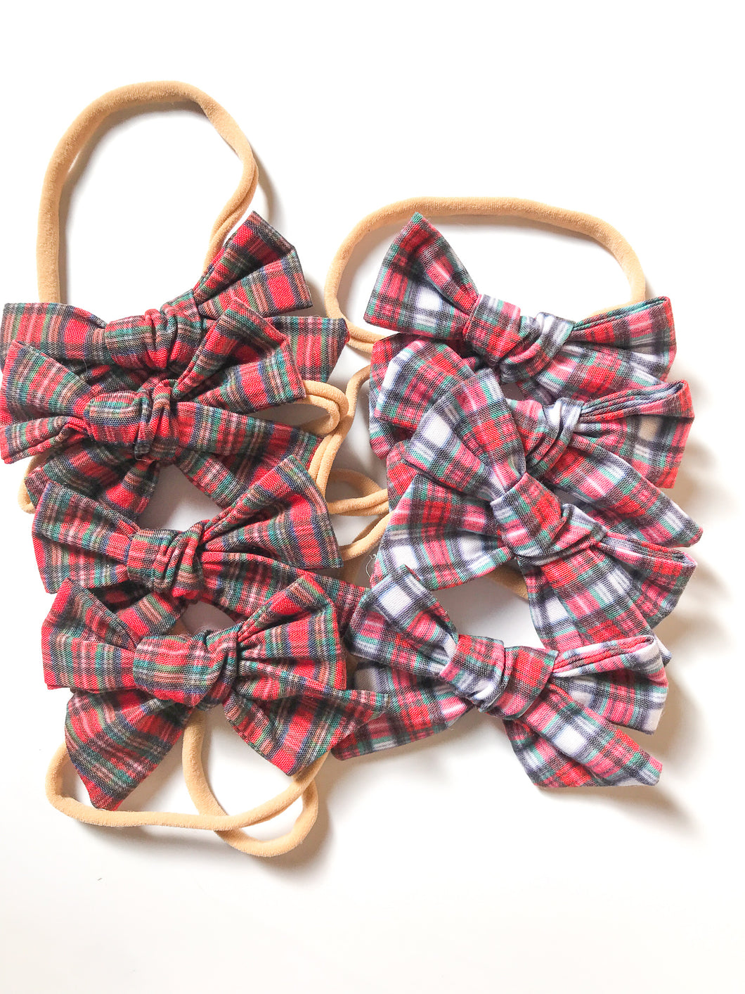 Hand-Tied Bow- Red or White Holiday Plaid