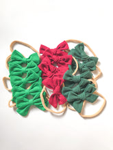 Hand Tied and School Girl Bows- Berry, True Green and Evergreen