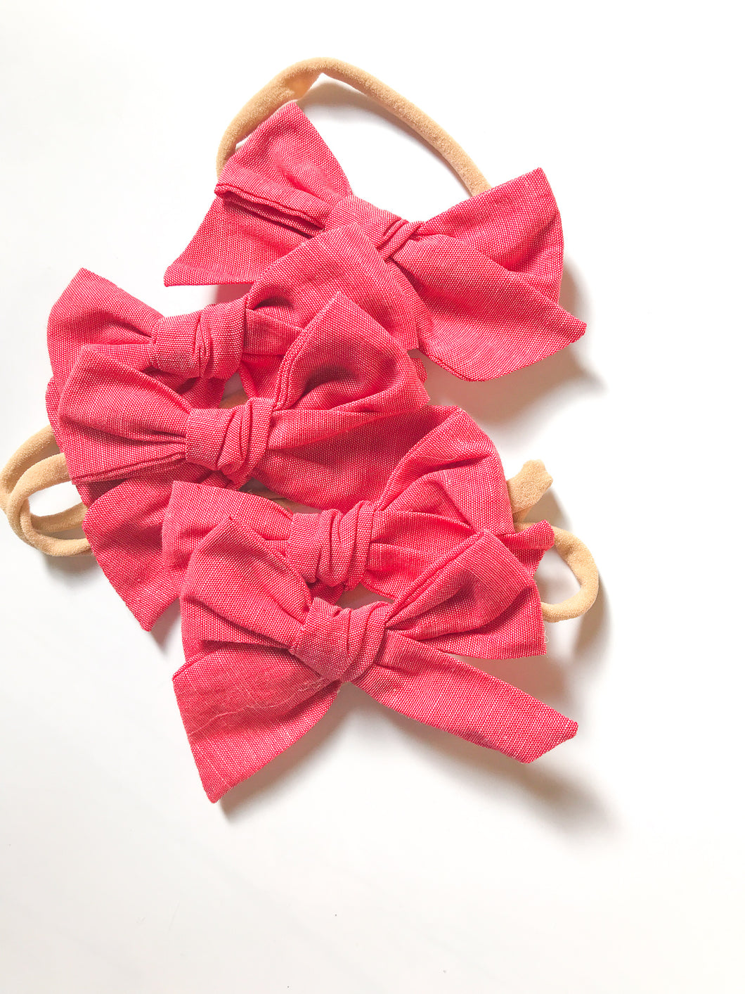 Hand-Tied Bow- Red , White or Green Chambray