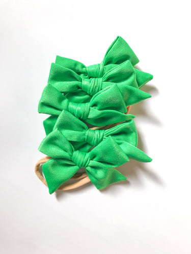 Satin Hand-Tied Bow- Green