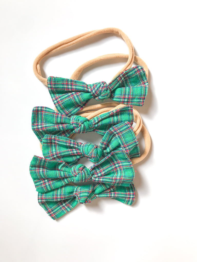 Knot Bows- Red or Green Plaid