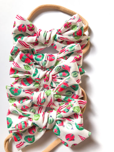 Hand Tied Headband- Red and Green Ornaments