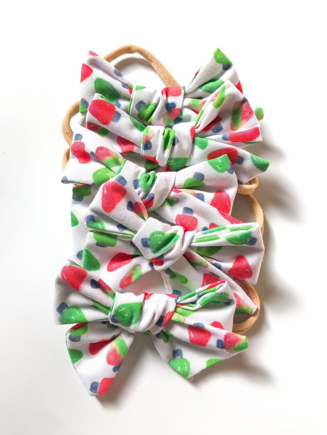 Hand Tied Headband- Red and Green Lights