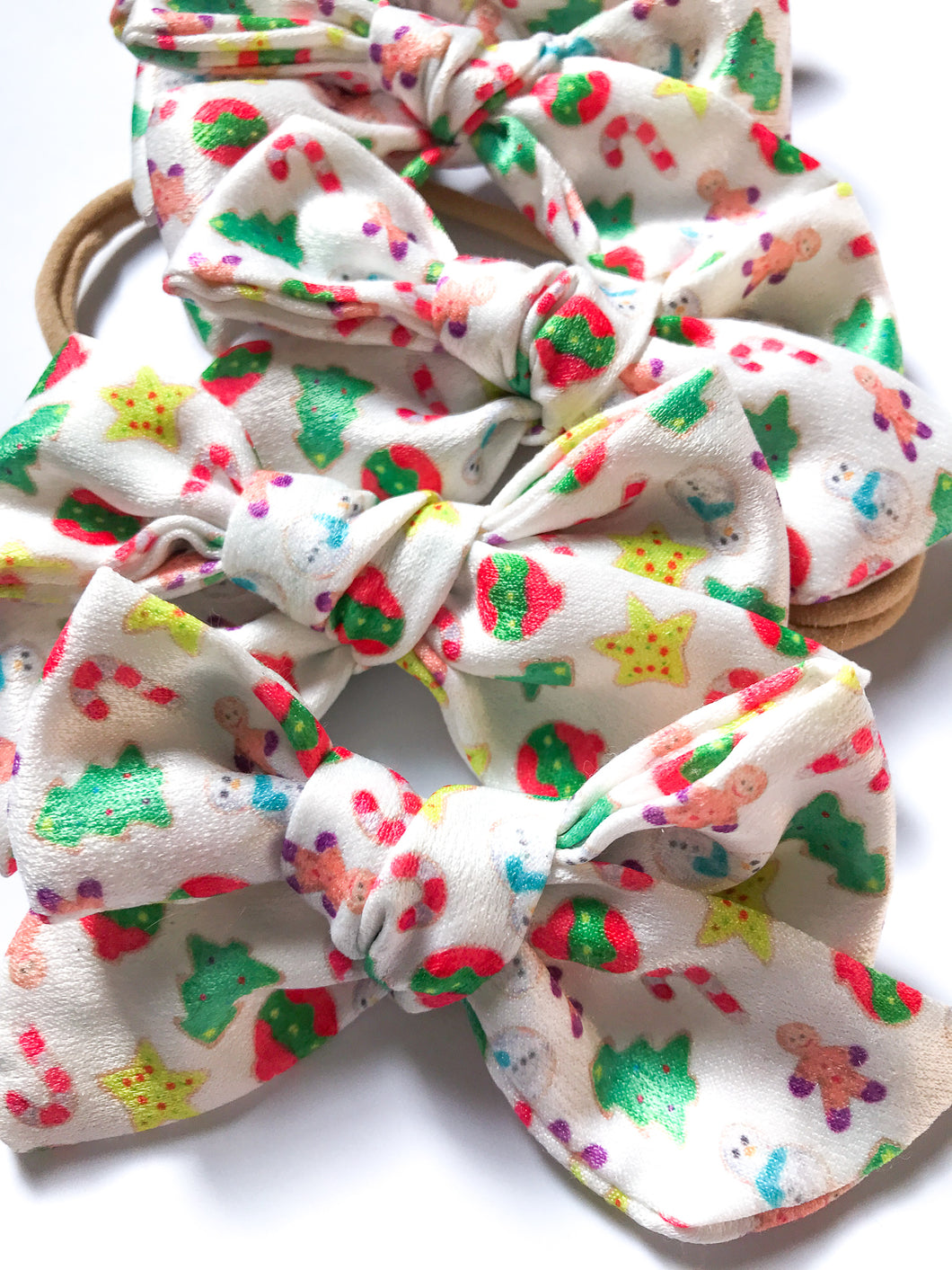 Satin Hand Tied Headband- Colorful Christmas Cookies