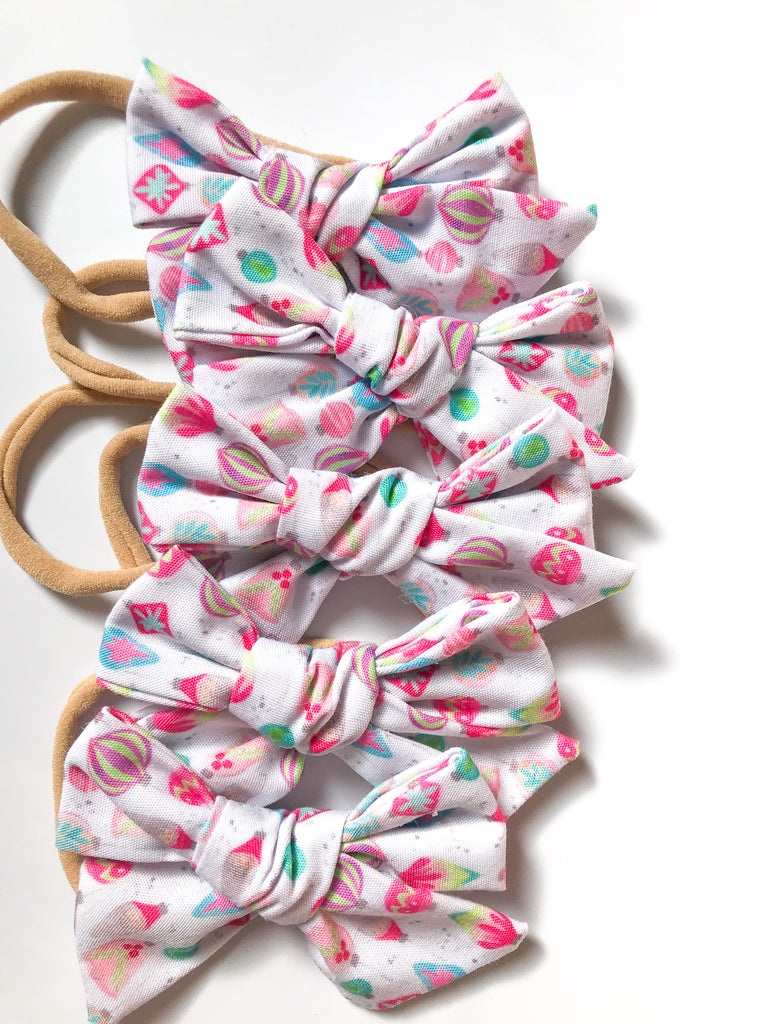 Hand Tied Headband- Colorful Ornaments