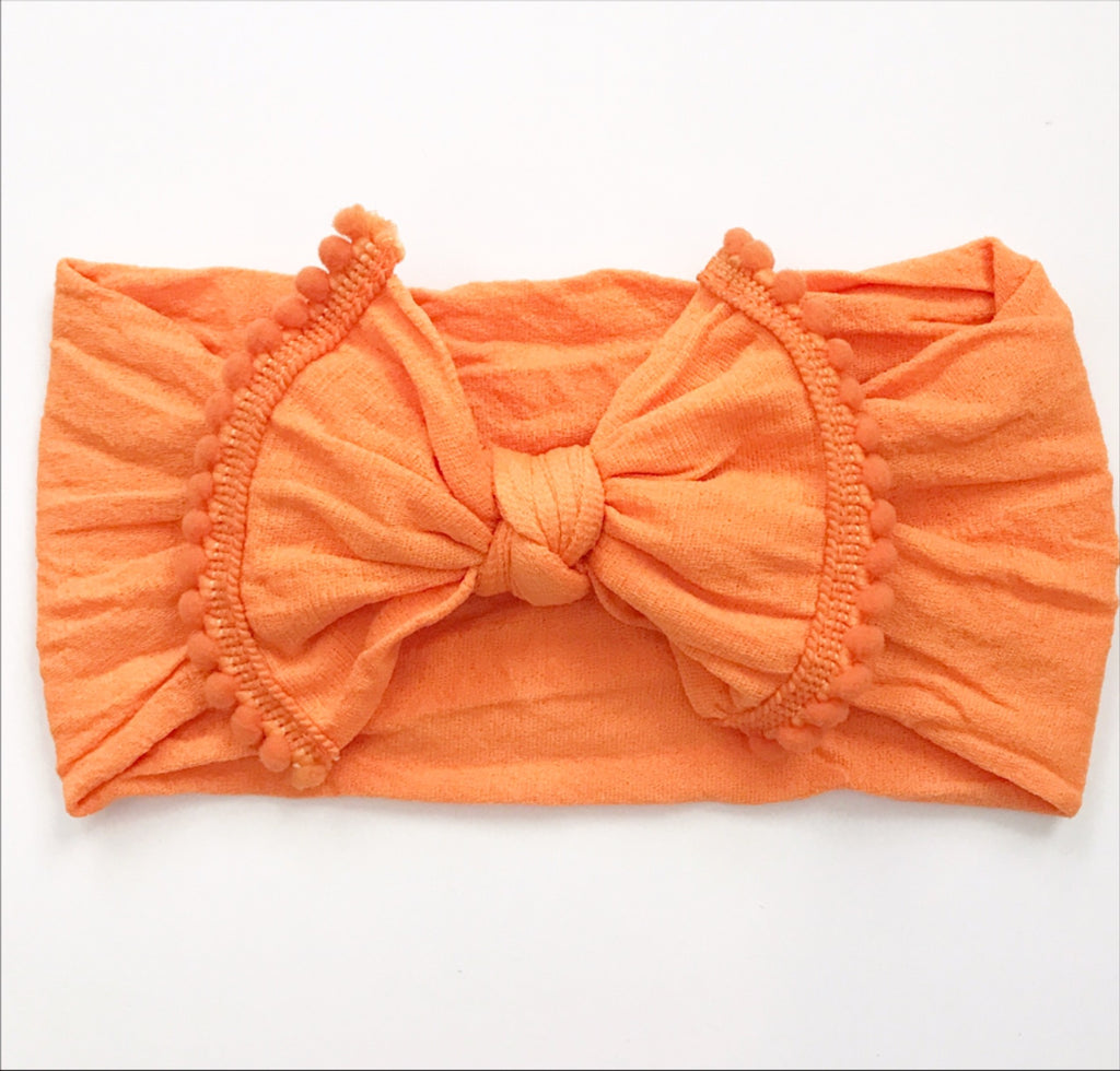 Orange Nylon Headwrap with Poms