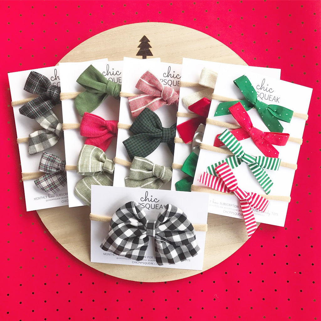 Stripe and Check Add On Bows December